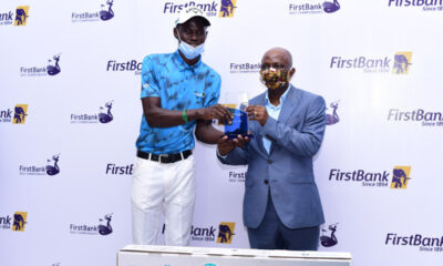 Mr. Tajudeen Ajayi, winner of the 59th FirstBank sponsored Lagos open golf championship receiving the award from Mr. Olusegun Alebiosu, Chief Risk Officer, FirstBank and representative of the Bank's CEO at the prize presentation and award night of the 59th edition of the annual FirstBank sponsored golf tourney, recently held at the Ikoyi Club, Lagos. | e-nigeria!